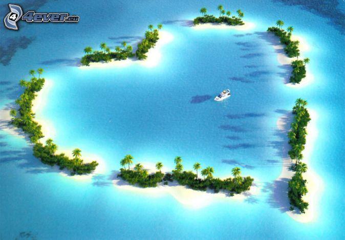 Insel in Form des Herzes, tropisches Meer, Palmen, Yacht