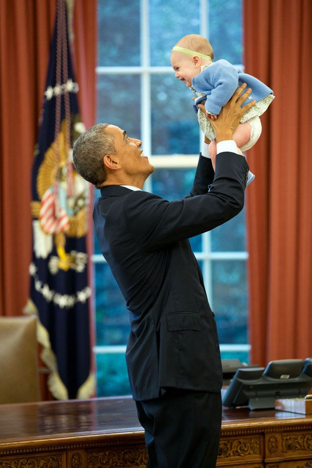 He particularly loves babies. | President Obama Really Can't Keep His Cool Around Cute Little Kids