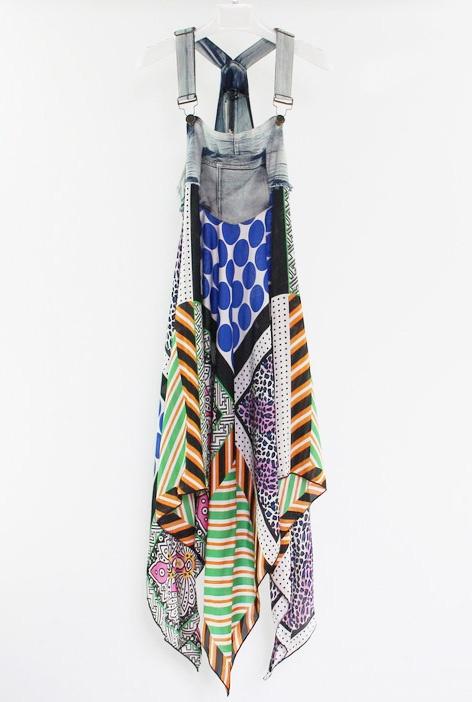 Denim Stiching Chiffon Spaghetti Strap Irregular Multicolor Printed Dress
