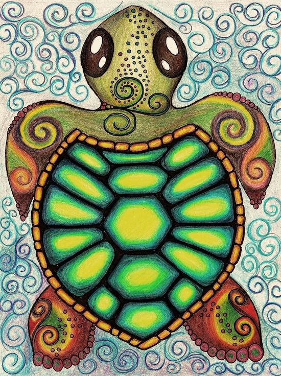 Baby Sea Turtle -by Alohalani on society5                                                                                                                                                                                 More