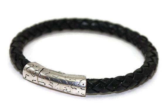 Leather bracelet  mens bracelet  braided leather by LuckyBeadsBox