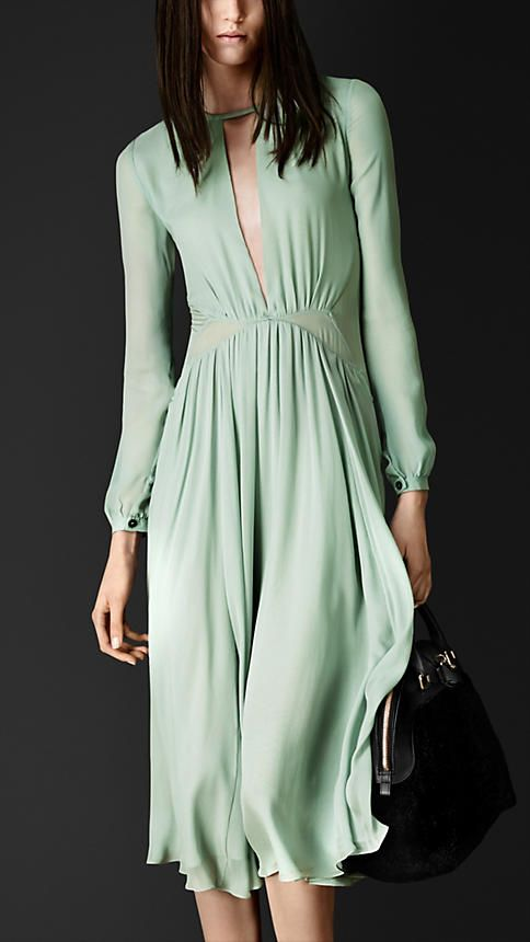 Burberry Prorsum Layered Silk Pleat Detail Dress