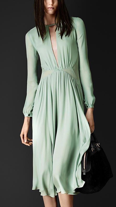 Vestido de seda a capas con detalle plisado | Burberry
