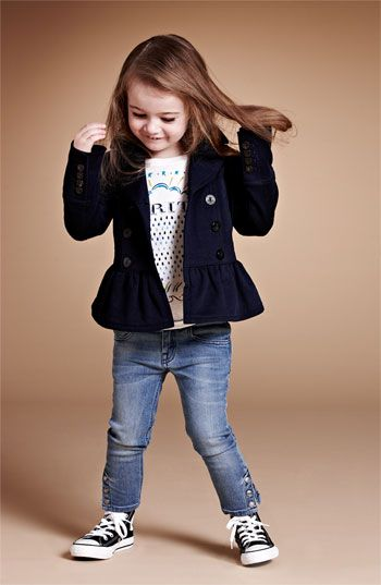 Burberry Tee, Jacket & Skinny Jeans (Little Girls & Big Girls)  available at #Nordstrom