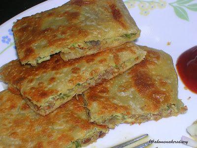 Mughlai Paratha - Moglai Porota without meat - Kolkata street food