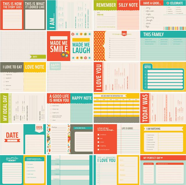 Printable Project Life or Smash Book Journaling Cards & Establishments