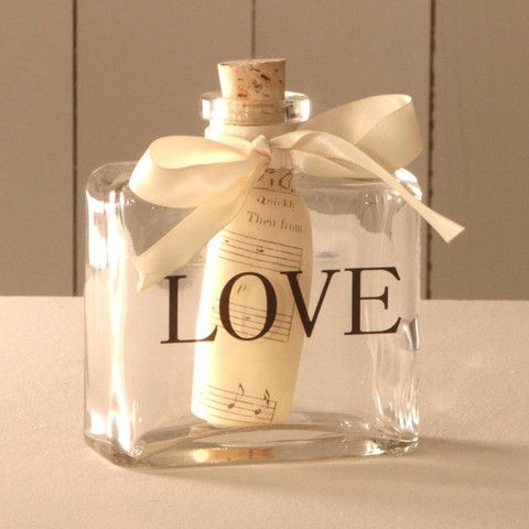 'LOVE' Message in a Bottle – Leave it empty next to my bed, then my hubby can leave me cute notes before he goes to work. Xx