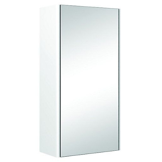 Wickes Bathroom Semi-frameless Single Mirror Cabinet White 310mm | Wickes.co.uk