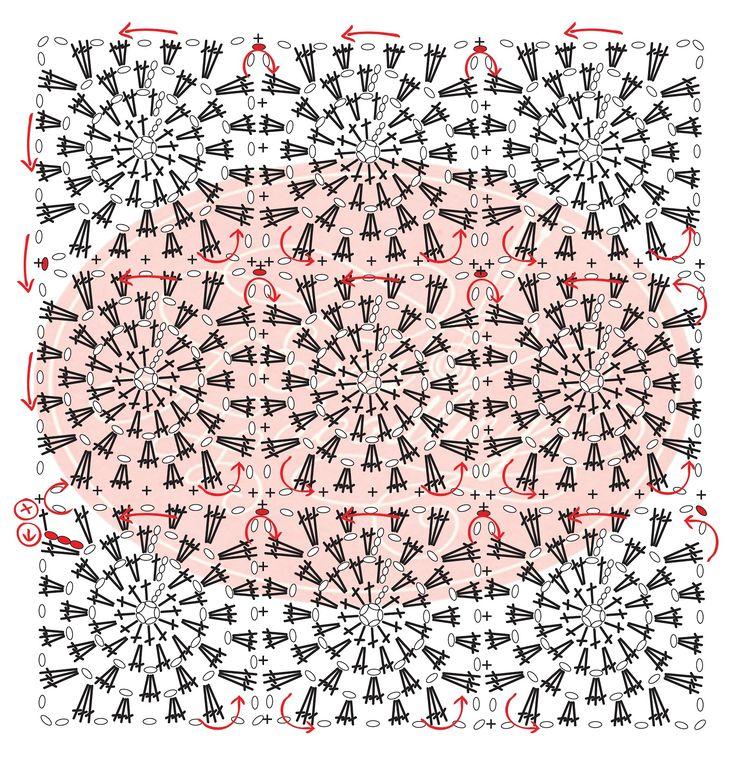 Eva's Doodlings Esquema de união dos quadrados para uma manta.