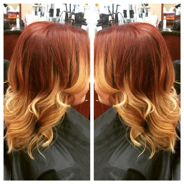 Vibrant Copper Red And Blonde Balayage Ombre I Used