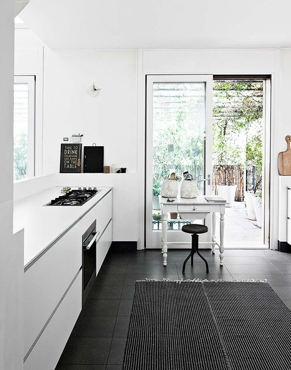 a quiet retreat in Milan | (my) unfinished home all white kitchen black floor