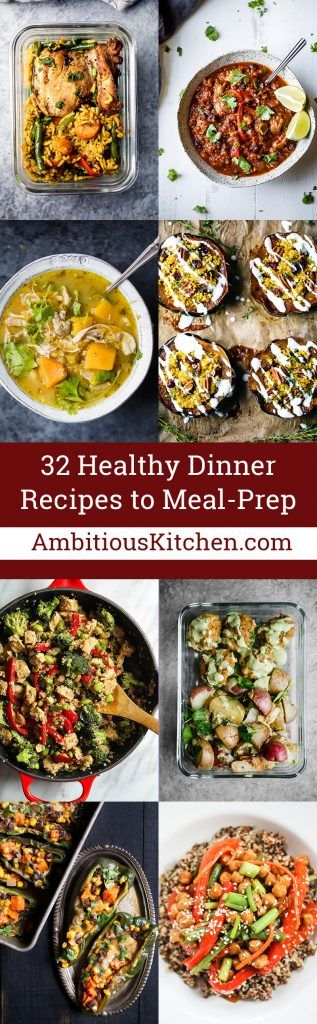 32 healthy dinner recipes that are perfect for your weekday meal-prep! From sheet pan and slow cooker meals to easy marinades and even amazing tacos - you'll never run out of delicious dinner ideas during the week. #mealprep #healthyrecipes #dinnerrecipes #dinner #healthyeating