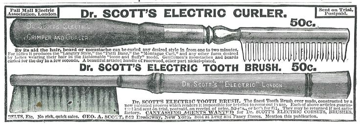 Dr Scott's Electric Curler and Toothbrush adv/