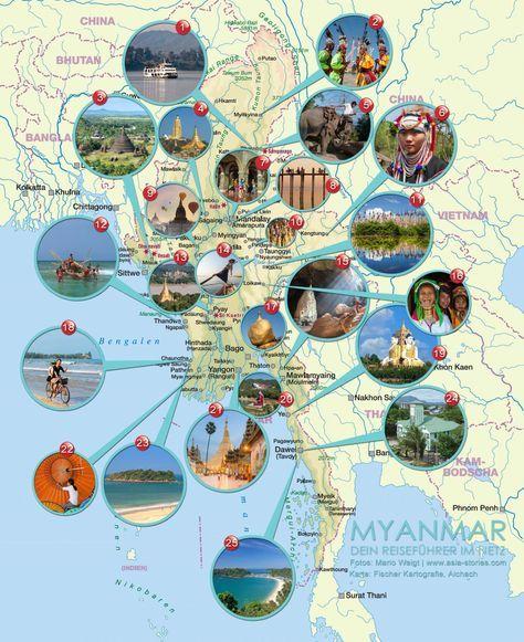 Karte für Myanmar mit den wichtigsten Sehenswürdigkeiten und Highlights des Landes. Die detailierte Karte zeigt die Namen der Städte und Fotos mit den interessantesten Orten, die jeder Traveller in Myanmar besuchen sollten.