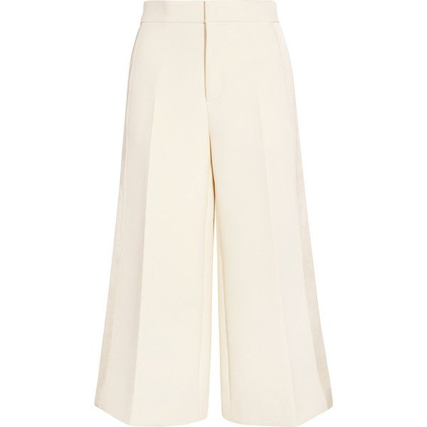 Joseph Fitz cropped satin-paneled cotton-twill wide-leg pants (€390) ❤ liked on Polyvore featuring pants, capris, bottoms, joseph, cream, cropped trousers, white trousers, wide-leg pants, white wide leg trousers and white wide leg pants