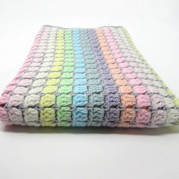 Crochet A Beautiful Pastel Rainbow Cot Blanket Easy And Fast To Make The Pe Crochet Blanket Rainbow Rainbow Crochet Blanket Pattern Crochet Blanket Patterns