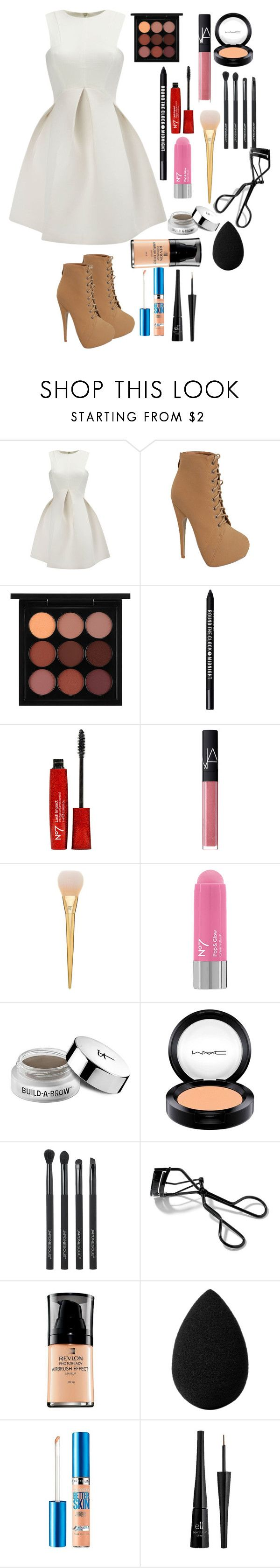 """""""Special Dinner outfit"""" by miley-wus-good ❤ liked on Polyvore featuring beauty, MAC Cosmetics, Bare Escentuals, NARS Cosmetics, It Cosmetics, Japonesque, Bobbi Brown Cosmetics, Revlon, beautyblender and Maybelline"""