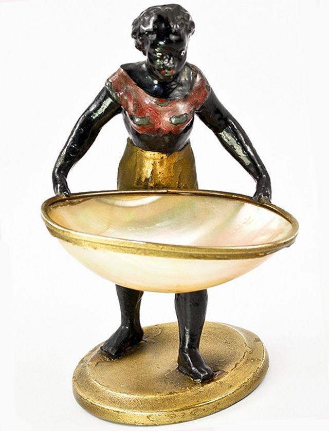 Pair of Blackamoors with Shells- Bronze Statues, Bronze