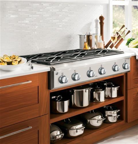 Gas Rangetop- 3' X 2.25'  GE Cafe 36 in. Gas Cooktop in Stainless Steel with 6 Burners-CGU366SEHSS