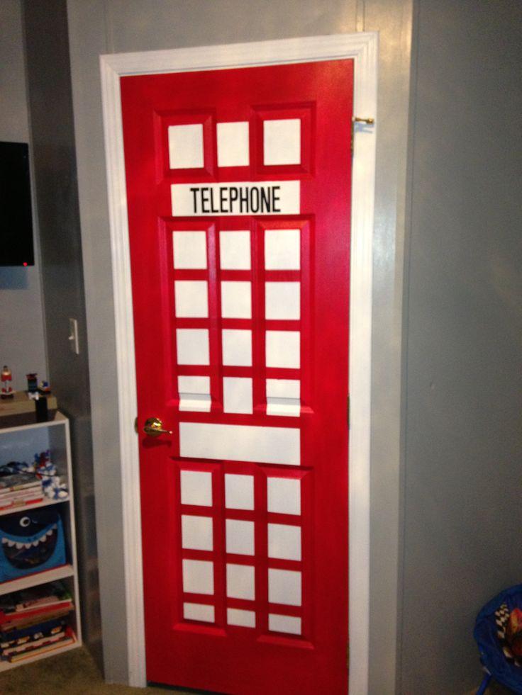 Telephone booth closet door super hero room pinterest for Superhero bedroom decor