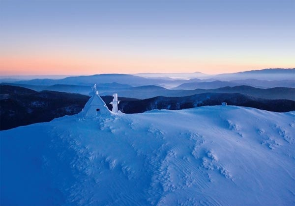 the fire observation hut on the summit of Victoria's Mount Buller