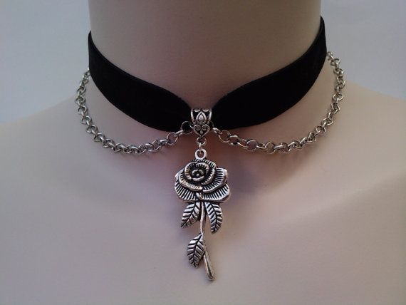 ROSE Charm & CHAIN Velvet BLACK Ribbon Choker  - si... or choose another colour velvet from a wide choice. £3.99, via Etsy.