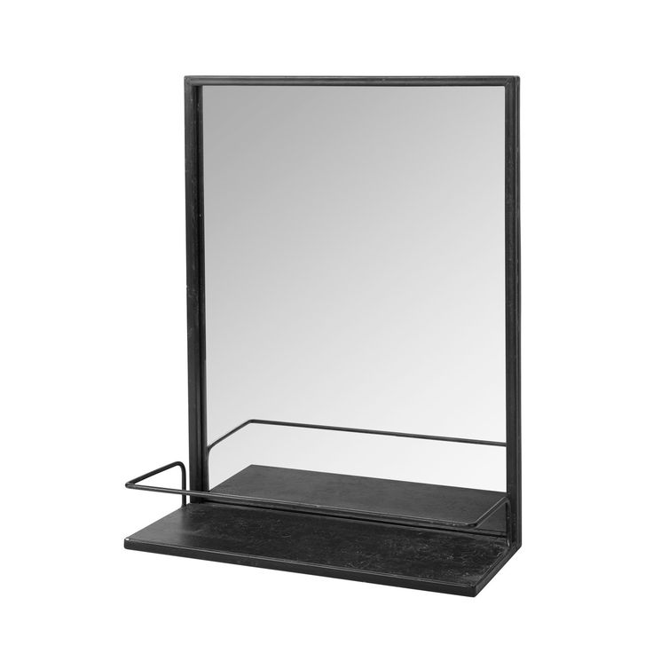 Broste copenhagen spiegel met plankje talja ijzer zwart for Tv voor in badkamer