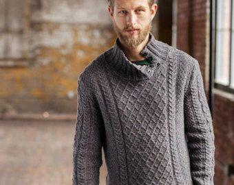 De cuello alto suéter de los hombres, suéter tejido a mano los hombres, cuello redondo suéter cardigan suéter los hombres ropa aran de punto hecho a mano de los hombres con cable