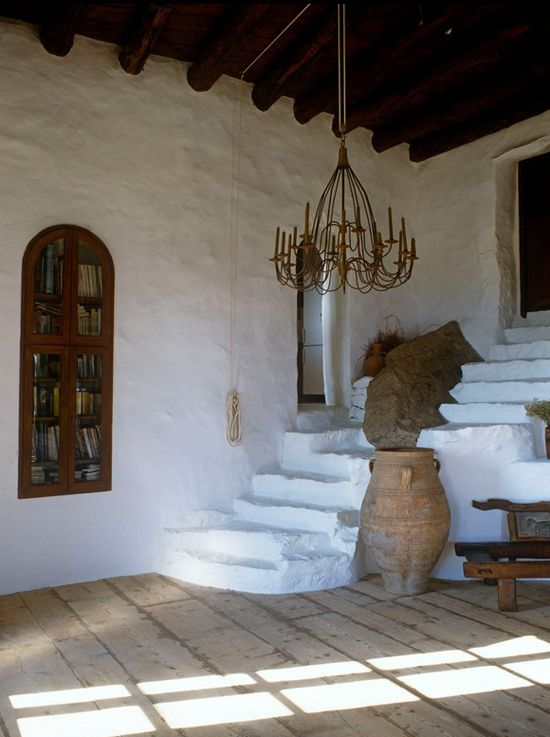 """GREECE - (Heraklion, Crete) -  My Paradissi - shared this image of the home of Vangelis Tsangaris and designer Deborah French in her post:  """"Stone house in Mykonos"""" here: http://www.myparadissi.com/2013/06/stone-house-in-mykonos.html .........see all blogs from our Around the World collection here: http://www.pinterest.com/linenlavender/around-the-world-lls-passport-to/  and our link list on linenandlavender.net's main page."""