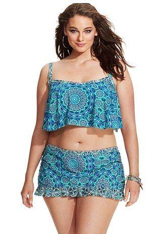Jessica Simpson Plus Size Cropped Flounce Bikini Top, Macy's, $76 for top | 30 Gorgeous Plus-Size Bikinis For Summer