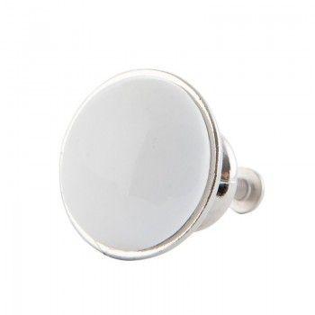 Biała ceramiczna gałka  / uchwyt meblowy Clayre