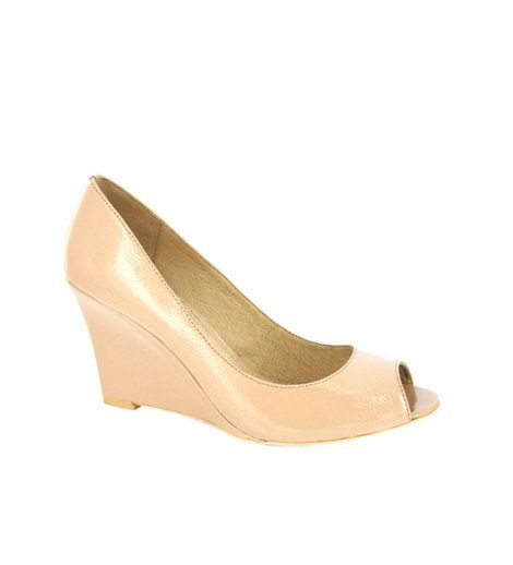 RMK - Avril Nude Peep Toe  A classic patent peep toe mid wedge.    Wedge: 8.5cm    Leather upper & lining, Synthetic sole    Was:$129.95 Now:$64.95