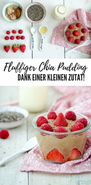 Veganer Chiapudding mit Mandelmus und Kakao und einer kleinen Zauberzutat, die den Pudding fluffig macht - wie Schokomousse! #vegan #rezept #chia #pudding