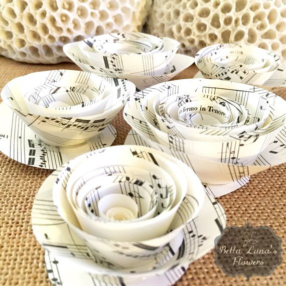 Paper Flowers  Music sheet Paper Flowers  by BellaLunasFlowers