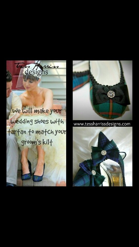 Tartan wedding shoes that match your groom's kilt from Tessharrissdesigns.com