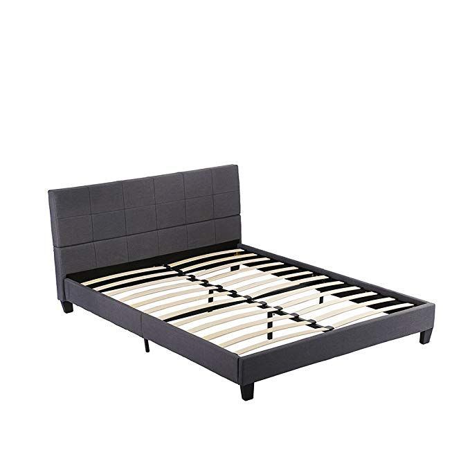 Platform Bed Queen Bed Frame Metal Base Mattress Foundation Tufted