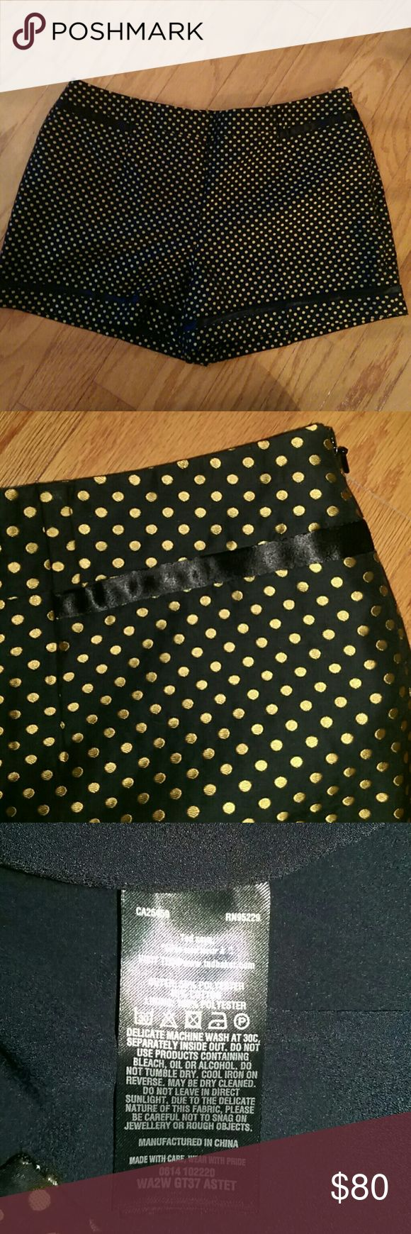 """NWOT high waisted Hot pants sz 12 TED BAKER NEW WITHOUT TAGS!!  High wasted, black hot pants with gold colored polka dots shorts/hot pants from TED BAKER LONDON  Ted size 5 (US size 12)  Waist: 36"""" Hips: 46"""" Length (outside of waist to hem): 14"""" Inseam: 3.5"""" Rise : 11""""  Flat front. High wasted. Satin trim on front & back (faux pockets), and around legs. Side zip and hook fastening. Fully lined.   Outer: 55% polyester, 45% cotton. Lining: 100% polyester.   In perfect New without tags…"""