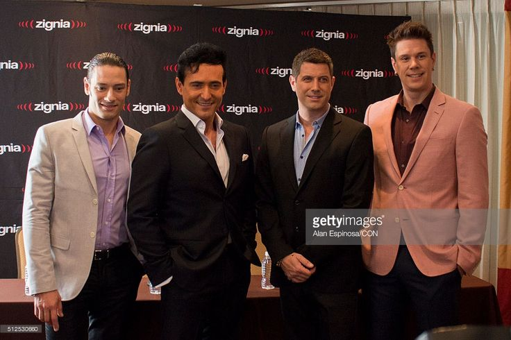 Members of Il Divo pose during a press conference to announce their presentations as part of the Amor & Pasion Tour 2016 at Hotel Meridien on February 26, 2016 in Mexico City, Mexico.