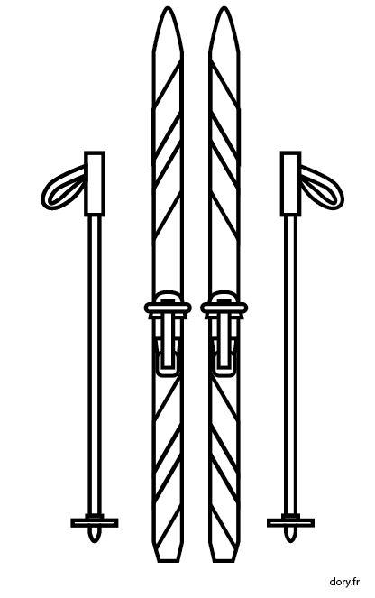 Dessin à imprimer, skis et batons