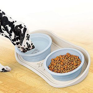 """Product # 63156 - Raised outer lip impedes food/water from spilling on to floor. Helps prevent ants from reaching the dog bowls. Non-skid bottom. Designed to hold two pet bowls (not incl.) Easy to clean hard plastic. 21""""L x 10""""W x 3""""H (at back)"""