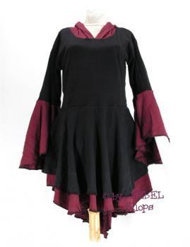 Traumhaftes Damen Kleid 'Tajeth' im Hexen Stil  mit langer Zipfelmütze, diverse Farben - Ethno Kleider - Ethno Kleidung - Alternative Mode - Bunte Kleidung - Goa Mode