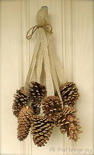 Pine Cone Burlap Jingle Bell Door Hanger: Pinecone, Burlap Ribbons, Satin Ribbons, Pine Cones Wreaths, Front Doors, Home Decor, Holidays Decor, Christmas Decor, Burlap Doors Hangers