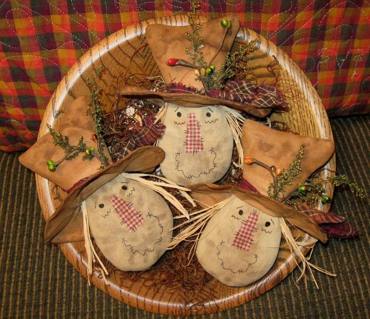 Primitive Autumn Fall Scarecrow Head Tucks Ornies Bowl Fillers EPATTERN. $4.75, via Etsy.