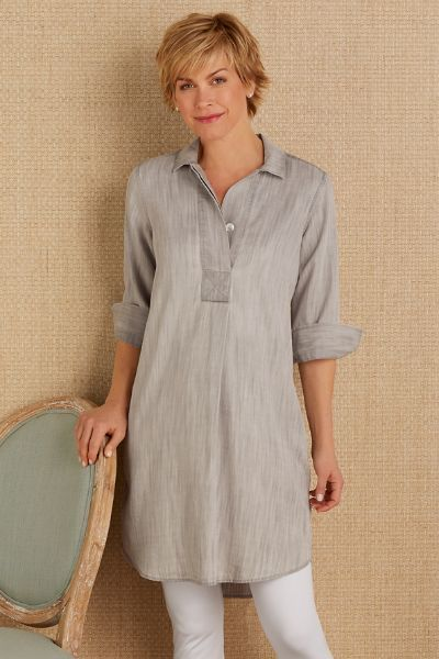 Francoise Tencel Tunic nto spring in the chic Euro-look of this divinely draping tunic. Designed in our beloved Tencel, the subtle shadowstripe effect and trending grey hue ma