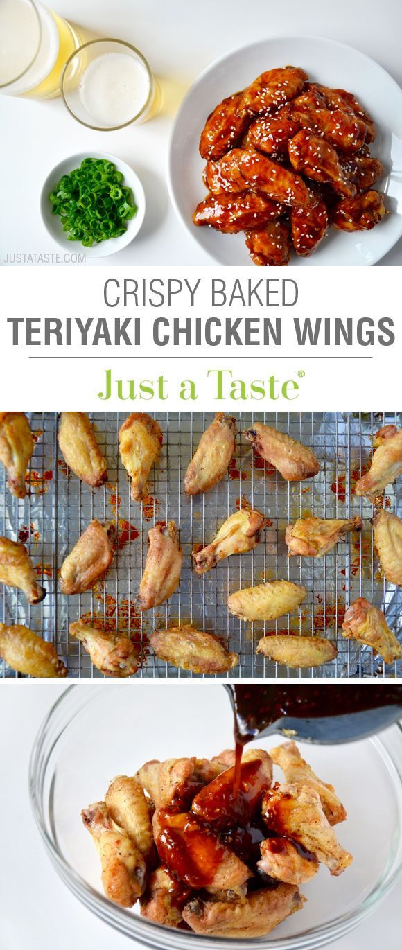 Crispy Baked Teriyaki Chicken Wings recipe via justataste.com