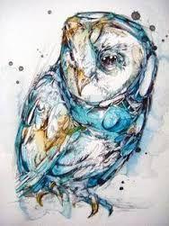 Výsledek obrázku pro watercolor owl tattoo