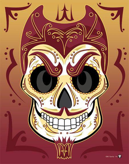 Arizona State University Sun Devil Sugar Skull Print 11x14 print El Diablo!