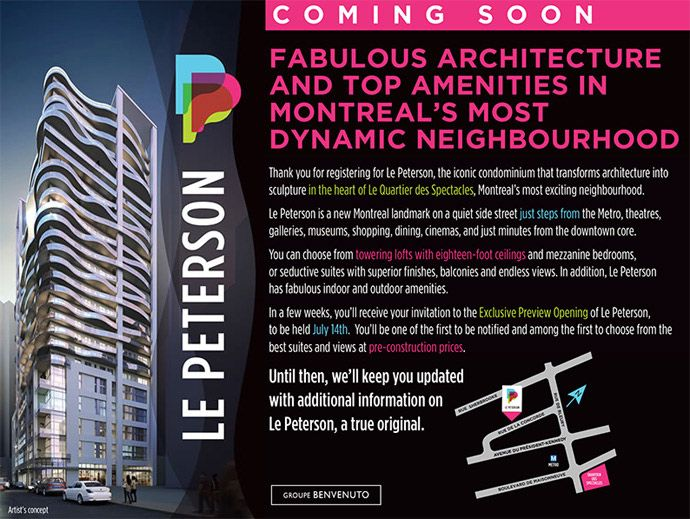 #Le #Peterson is a new condo development by Benvenuto Group and Malen Capital currently under construction at Rue de Bleury & Rue de la Concorde in Montreal. Visit #Toronto #Condo #Only to register & more information.