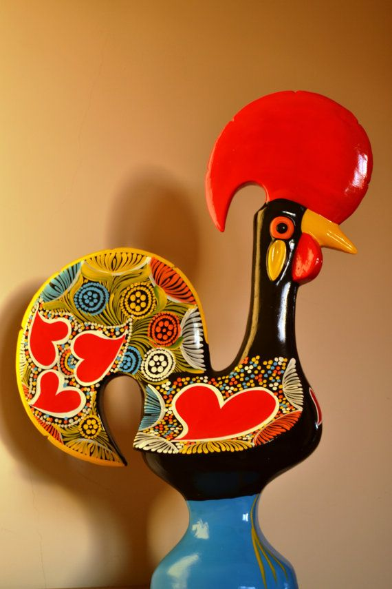 FREE SHIPPING. Giant Rooster.  Height: 53cm / by FeiradeBarcelos
