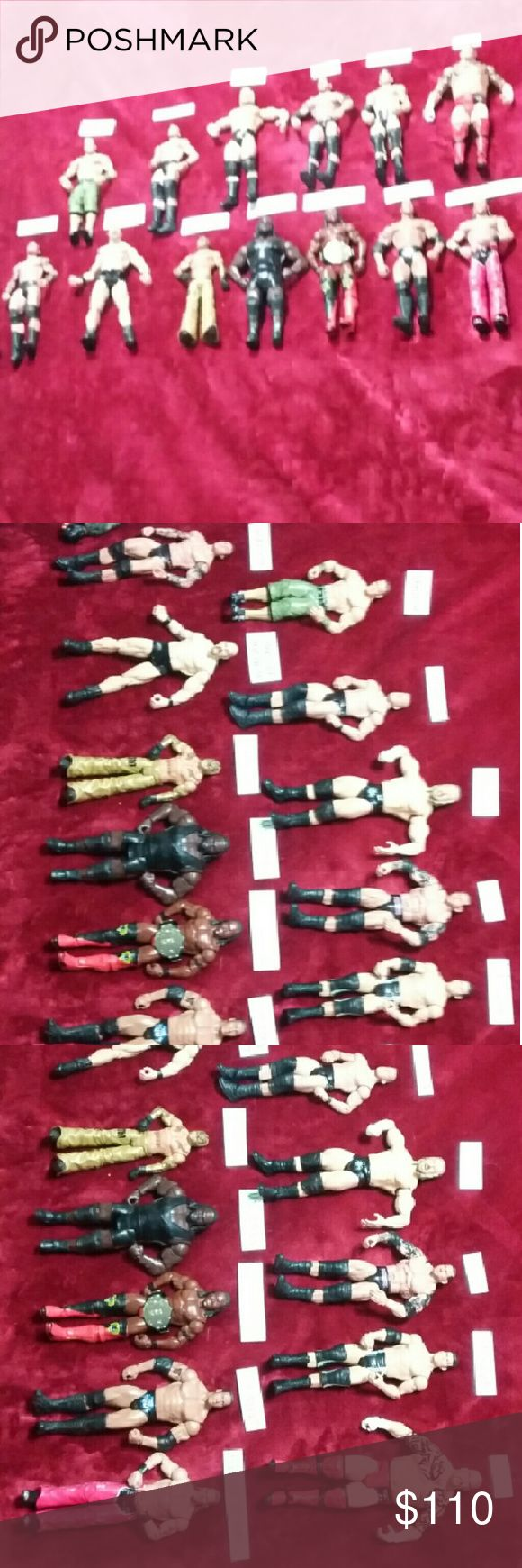 "WWE wrestler Top left to right. John Cena, Ted Dibiase Jr., Triple H, Batista, Cody Rhodes, Tensai. Bottom left to right.  Randy Orton, Steve Austin, Rey Mysterio,  Mark Henry, Kofi Kingston, ""The Rock"", and Shawn Michaels. Every wrestler are in excellent condition,  except for Mark Henry right foot was chewed half way off by the dog,  and The Rock left foot is slightly chewed by the dog. Everyone else is in perfect condition. Have any other questions please don't hesitate. I can separate if…"